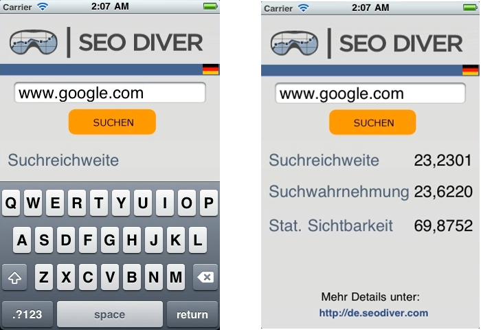SEO DIVER iPhone / Android App
