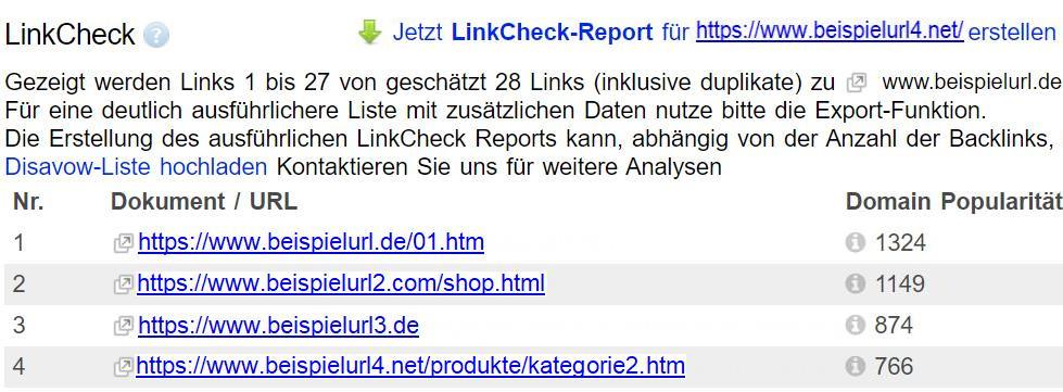 LinkCheck Ergebnisse